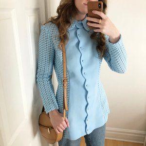 Stunning Vintage Union Made Light Blue Crochet Knit Scalloped Jacket Coat Dress